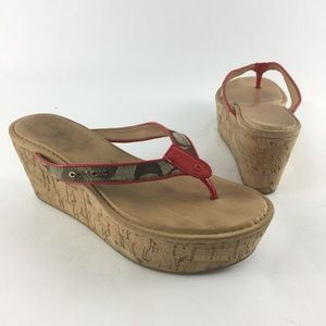 Coach Norene Thong Wedge Platform Sandals